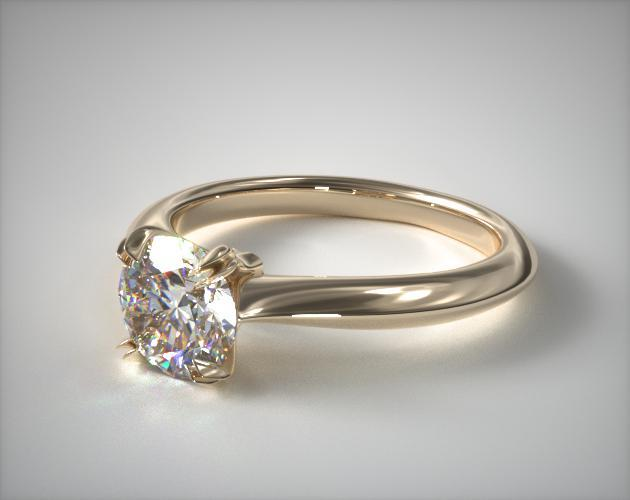 18K Yellow Gold Double Prong Solitaire