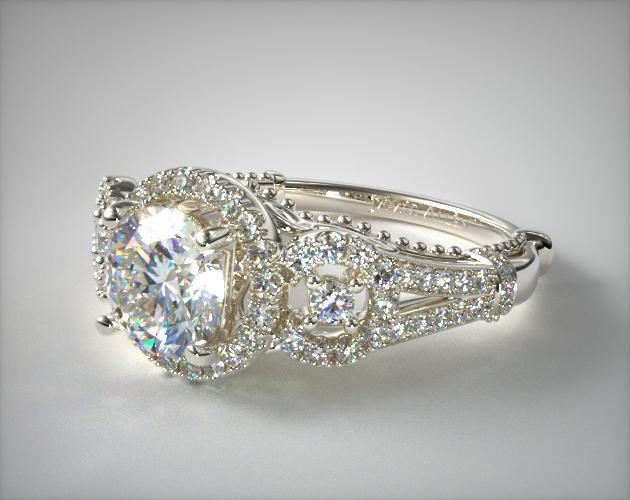 18K White Gold Three Stone Decorative Bridge Engagement Ring