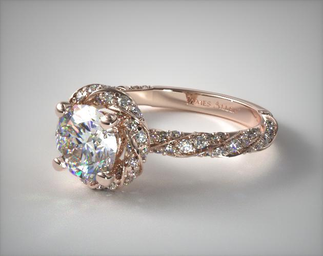 Twisted Pave Halo Engagement Ring 14k Rose Gold