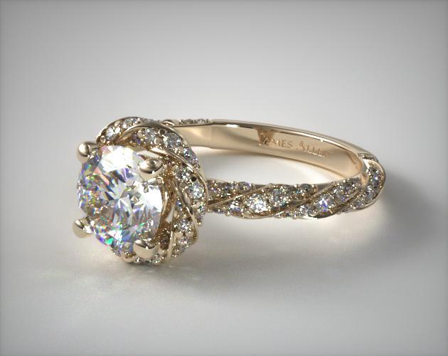 18K Yellow Gold Twisted Pave Halo Engagement Ring