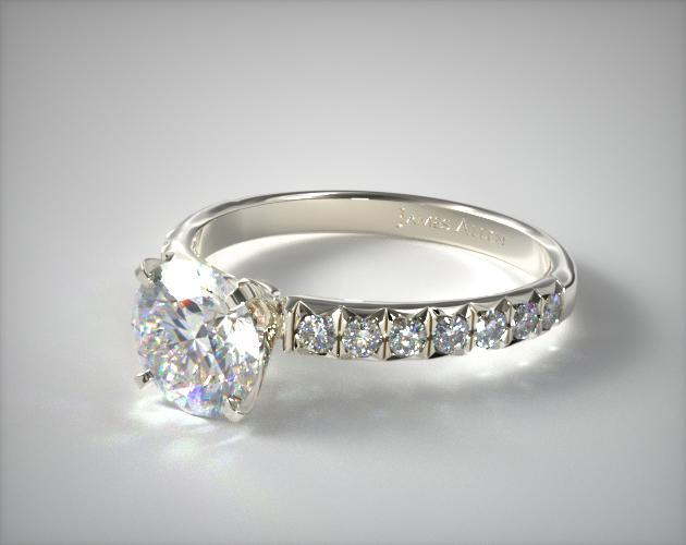 Platinum Gold Pave Four Prong Diamond Engagement Ring