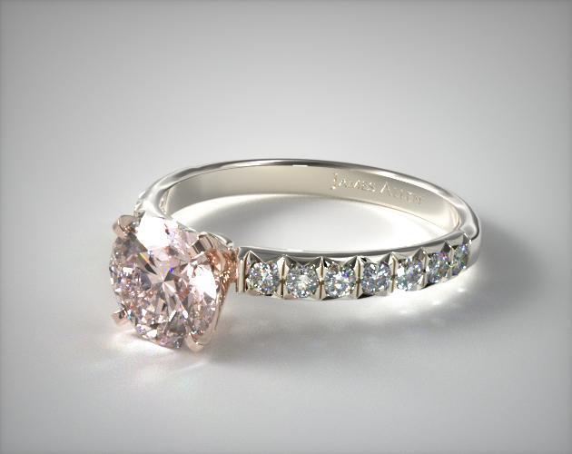 18K White and Rose Gold Pave Set Four Prong Diamond Engagement Ring