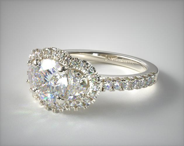 18K White Gold Framed Three Stone Diamond Engagement Ring