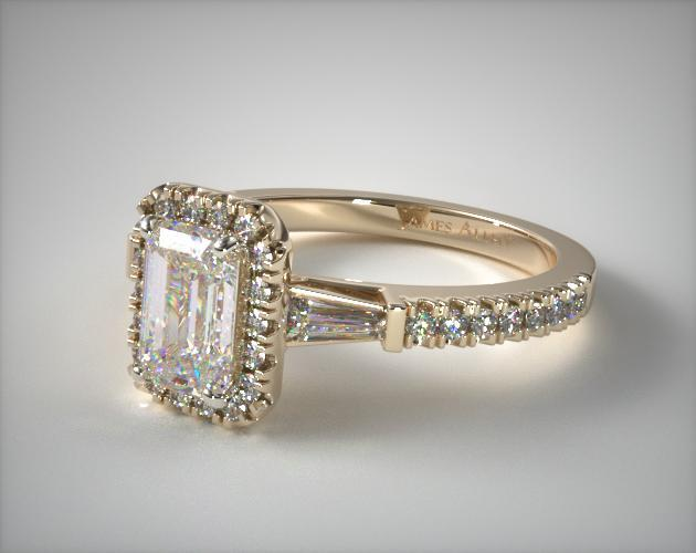 rings gold in engagement pave solitaire white diamond certified ring