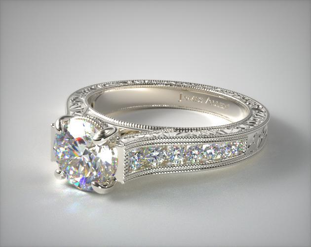 17068w14 Hand Engraved Channel Set Round Diamond Engagement Ring 14k White Gold