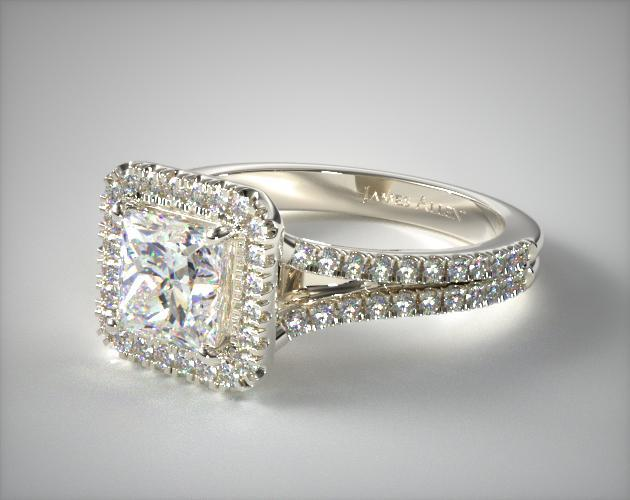 14k White Gold Split Shank Princess Shape Diamond Halo Engagement Ring