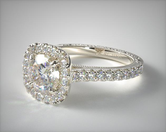 Hand Engraved Cushion Shape Halo Engagement Ring 14k White Gold