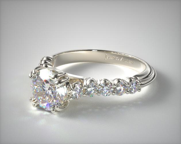18K White Gold Prong Set Cathedral Diamond Engagement Ring