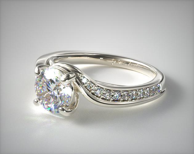 Platinum Pavé Bypass Diamond Engagement Ring