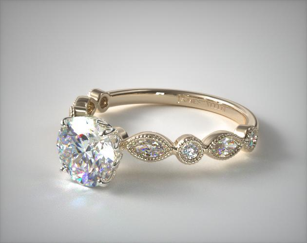 18K Yellow Gold Round and Marquise Shape Diamond Engagement Ring