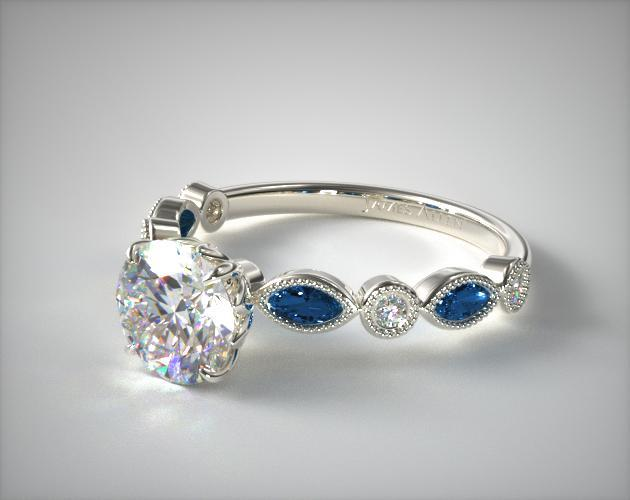 18K White Gold Vintage Round Diamond and Marquise Sapphire Engagement Ring