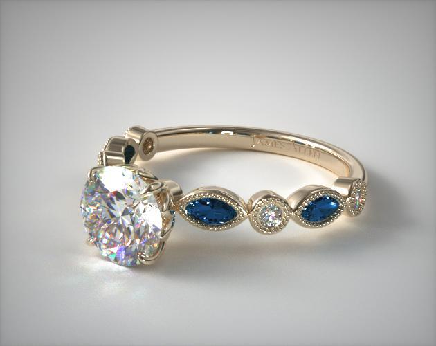 17083y14 vintage round diamond and marquise sapphire