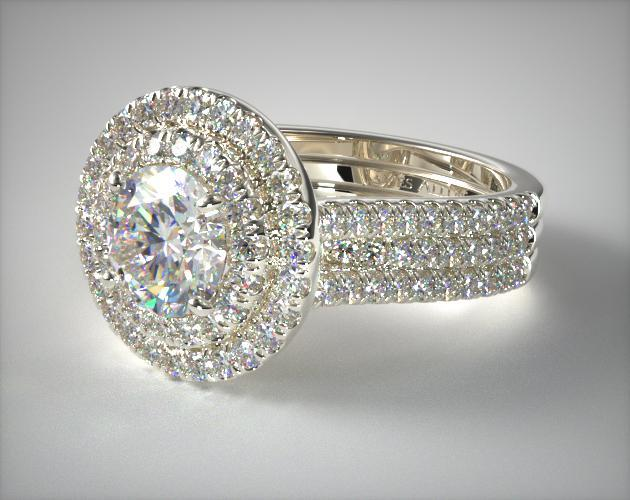 14K White Gold Triple Row Pave Halo Engagement Ring