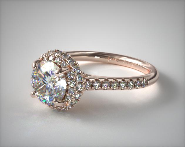 14K Rose Gold Falling Edge Pave Diamond Engagement Ring