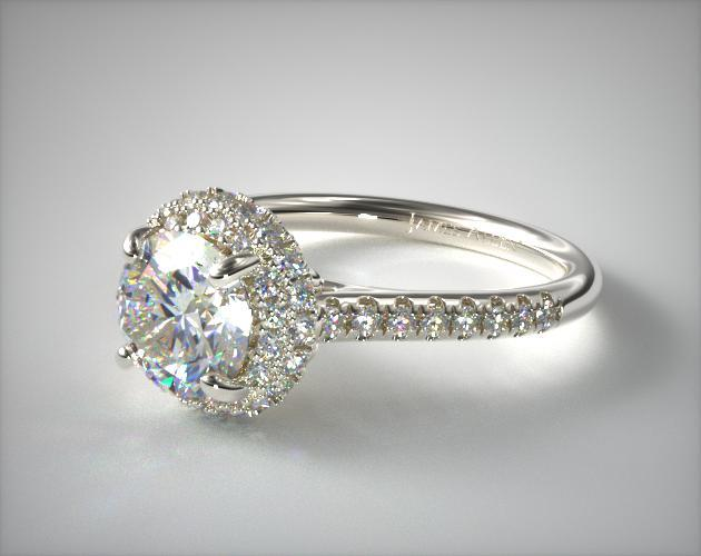 14K White Gold Falling Edge Pave Diamond Engagement Ring