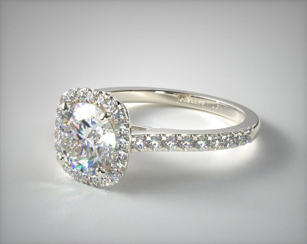 Cushion Outline Pave Engagement Ring