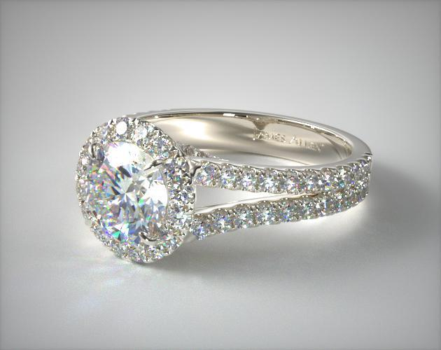 14K White Gold Round Split Band Diamond Halo Engagement Ring
