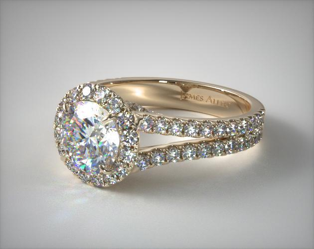 6eff0a7d286 Round Split Band Diamond Halo Engagement Ring