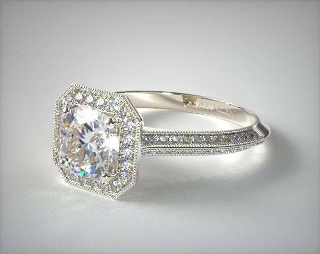 Platinum Octagon Halo Diamond Engagement Ring