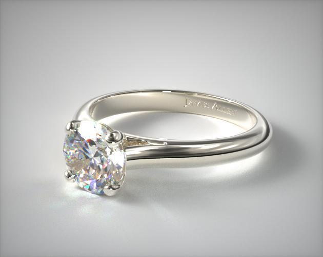 18K White Gold Sleek Diamond Engagement Ring