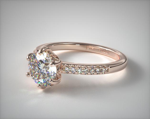 14K Rose Gold Modified French Cut Six Prong Engagement Ring
