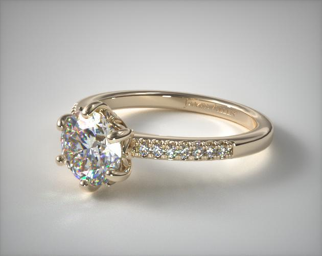 18K Yellow Gold Modified French Cut Six Prong Engagement Ring