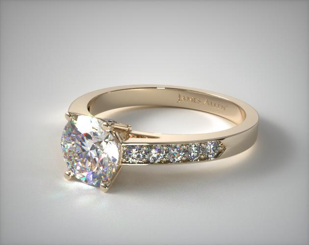 18K Yellow Gold Pave Set Surprise Diamond Engagement Ring
