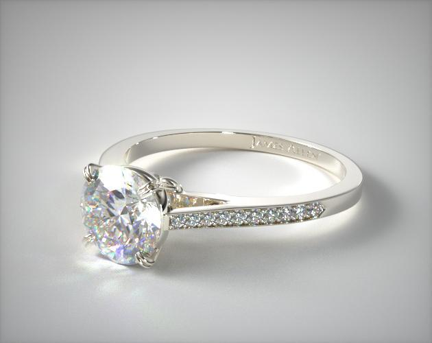 Platinum Double Claw Prong Pave Set Surprise Diamond Engagement Ring