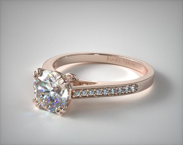 14K Rose Gold Double Claw Prong Pave Set Diamond Engagement Ring