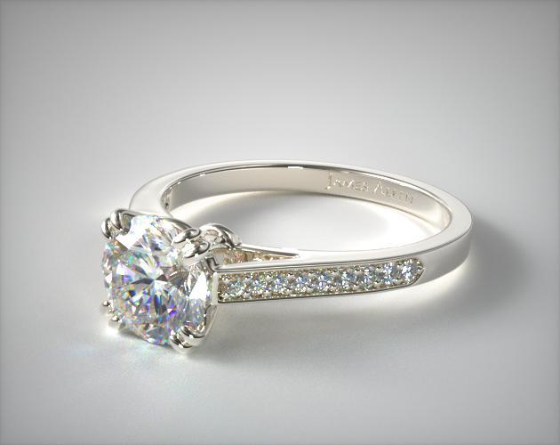 14K White Gold Double Claw Prong Pave Set Diamond Engagement Ring