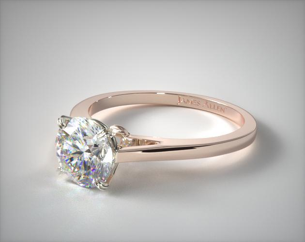 14K Rose Gold Double Claw Prong Engagement Ring