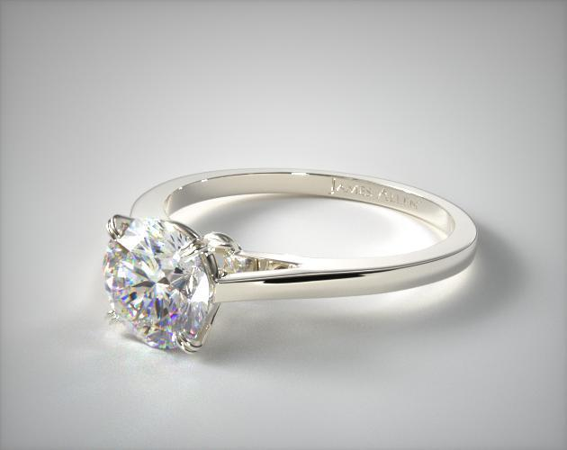 14K White Gold Double Claw Prong Engagement Ring