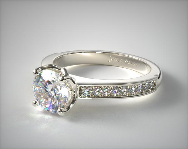 Platinum Bead Set Cathedral Diamond Engagement Ring