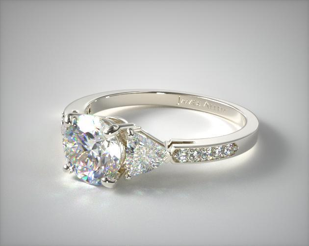18K White Gold Three Stone Trillion and Pave Diamond Engagement Ring