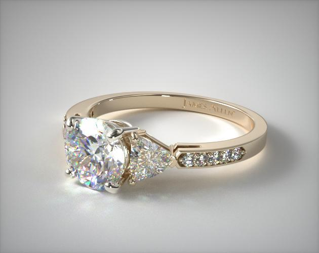14K Yellow Gold Three Stone Trillion and Pave Diamond Engagement Ring