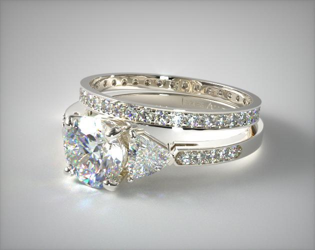 18k White Gold 3-Stone, Pave Diamond Engagement Ring & .26ct Pave Diamond Eternity Band