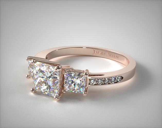 14K Rose Gold Three Stone Princess and Pave Set Diamond Engagement Ring