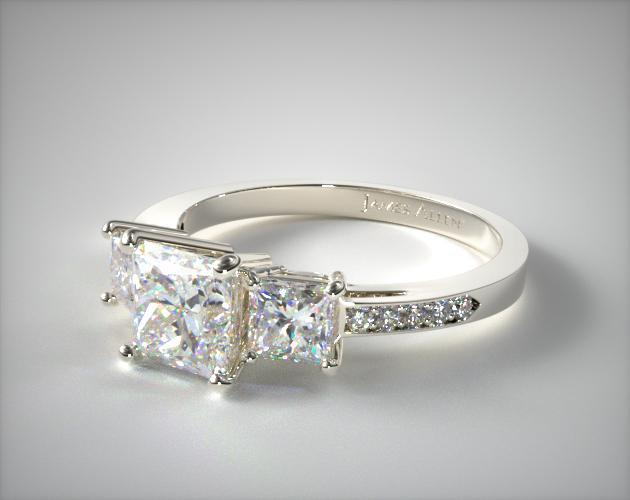 14K White Gold Three Stone Princess and Pave Set Diamond Engagement Ring