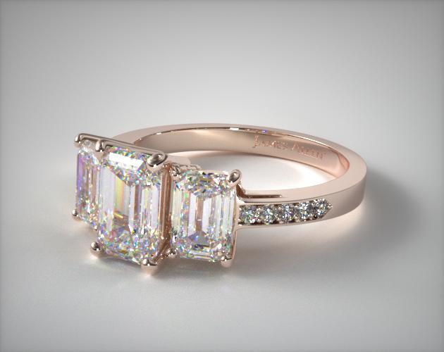 14K Rose Gold Three Stone Emerald and Pave Set Diamond Engagement Ring