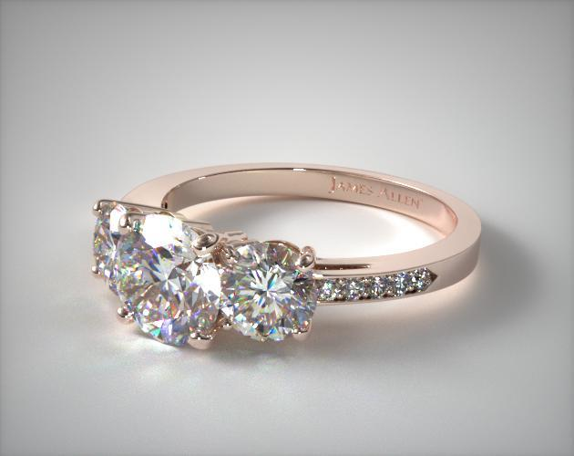 14K Rose Gold Three Stone Round and Pave Set Diamond Engagement Ring