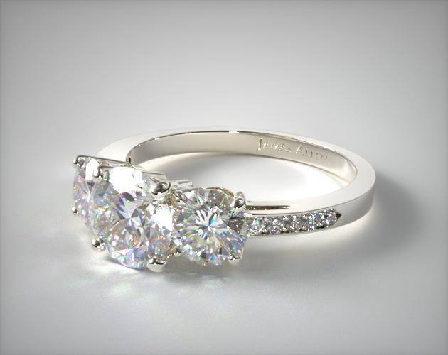 18K White Gold Three Stone Round and Pave Set Diamond Engagement Ring