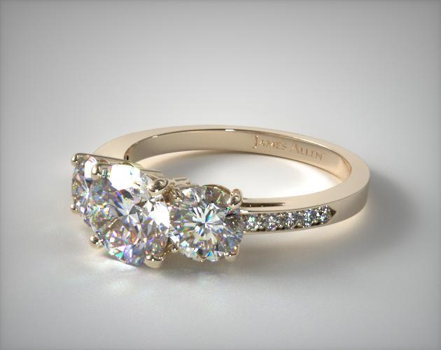 14K Yellow Gold Three Stone Round and Pave Set Diamond Engagement Ring