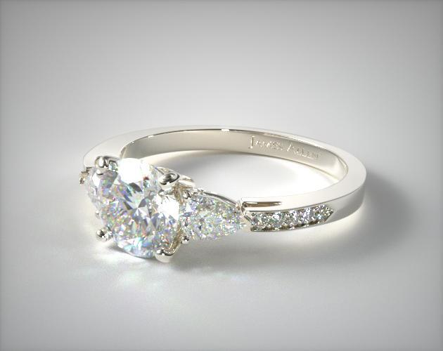 14K White Gold Three Stone Pear and Pave Set Diamond Engagement Ring