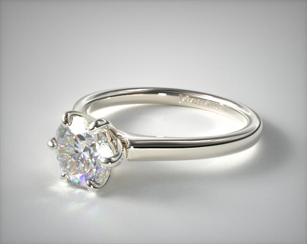 18K White Gold Tapered Six Prong Diamond Engagement Ring