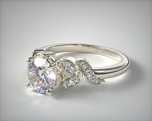 Pave Vine Diamond Engagement Ring 14k White Gold 17144w14