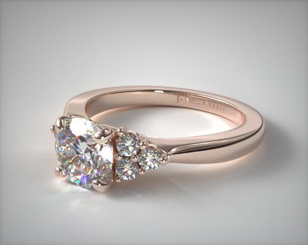 14K Rose Gold Triple Diamond Engagement Ring