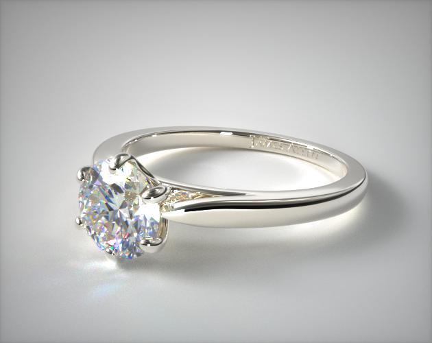 14K White Gold Petite Flower Solitaire Engagement Ring