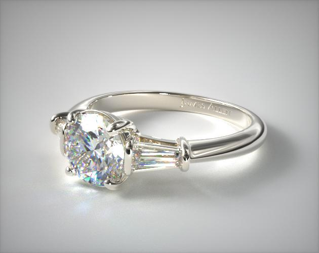 ce59ac9bd Tapered Baguette Diamond Engagement Ring | 14K White Gold