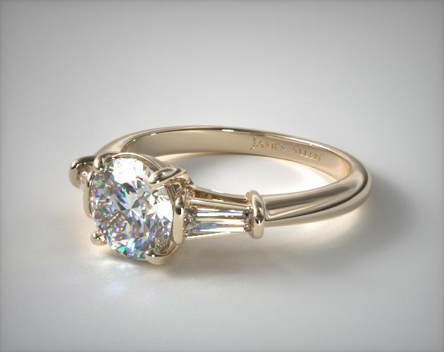 Tapered Baguette Diamond Engagement Ring 14K Yellow Gold