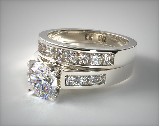 18K White Gold Channel Set Diamond Wedding Set